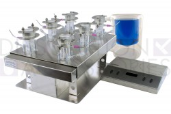 Complete 12mL clear Franz cell vertical diffusion systems for manual sampling.