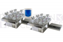 Complete 12 Franz cell vertical diffusion systems for manual sampling. Clear 7mL vertical diffusion Franz cells.
